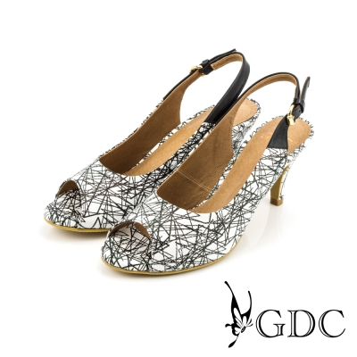 GDC-都會時尚扣帶真皮高跟魚口涼鞋-白色