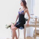 大尺碼 網紗刺繡柔緞美背睡衣 Annabery