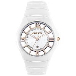GOTO 羅馬戀曲晶鑽陶瓷裸空時尚手錶-白/39mm