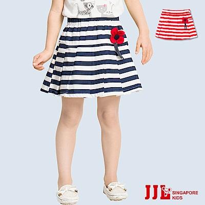 JJLKIDS 經典彈力條紋小花造型短裙(2色)