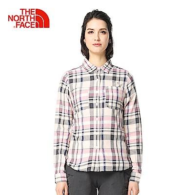 The North Face北面女款粉色印花舒適透氣休閒長袖襯衫