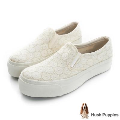 Hush Puppies 甜心蕾絲咖啡紗厚底懶人鞋-米白