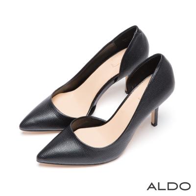 ALDO-性感大人風原色尖頭不對稱細高跟鞋-尊爵黑