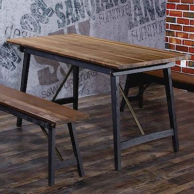 AT HOME-工業風設計4.6尺實木鐵藝餐桌(140*80*76cm)薩克斯