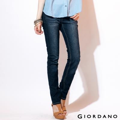 GIORDANO女裝中腰標準窄腳牛仔褲-60深藍