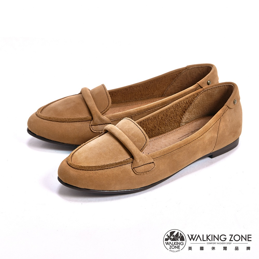 【WALKING ZONE】英倫簡約麂皮尖頭淑女鞋-棕