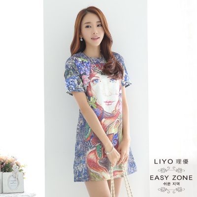 LIYO理優洋裝抽象印花洋裝-藍