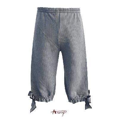 Annys舒適棉條紋綁帶蝴蝶結鬆緊五分褲*1361藍