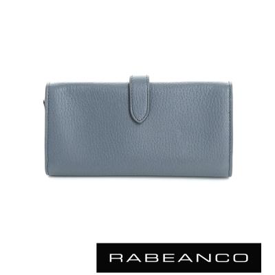 RABEANCO 頂級荔枝紋牛皮舌扣長夾 暗灰藍