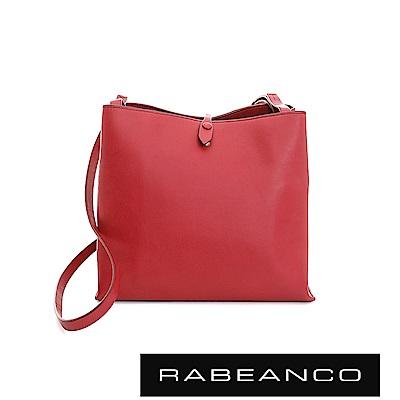 RABEANCO 迷時尚牛皮系列經典方型肩背包(大) - 石榴紅