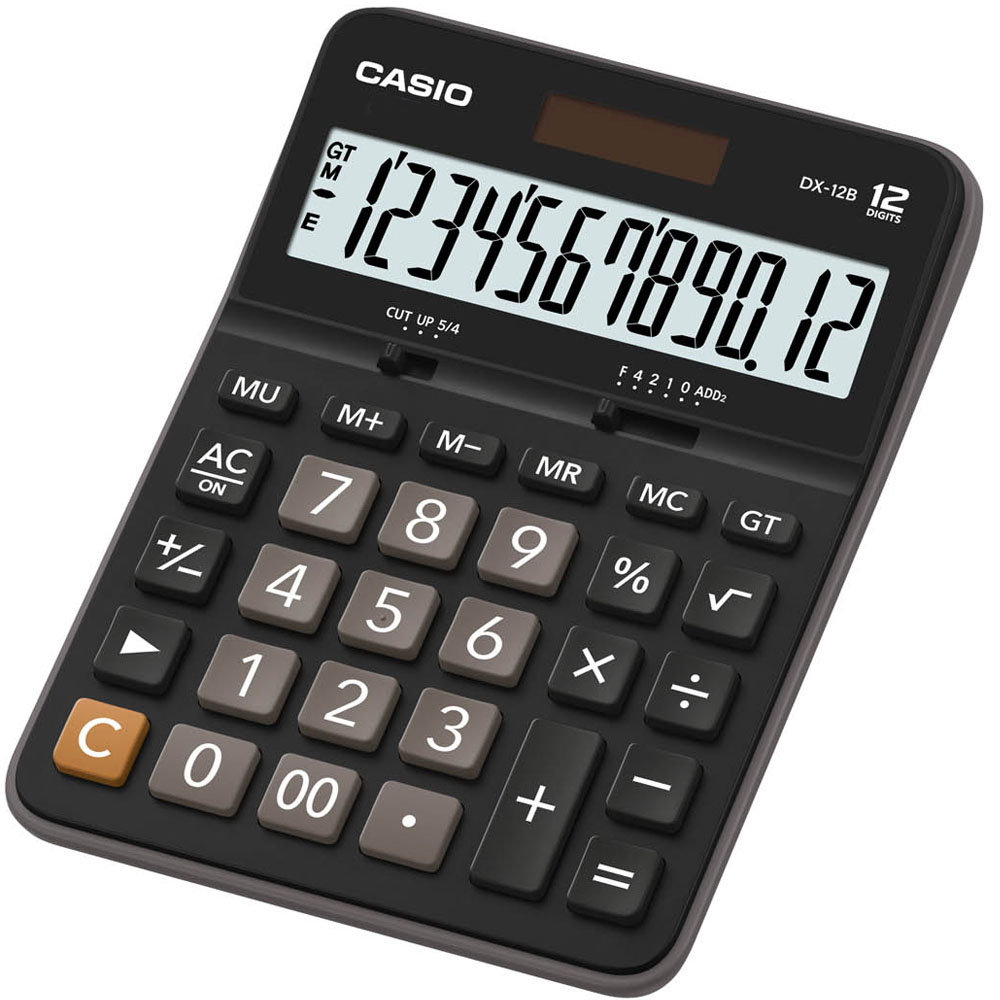 CASIO 12 位元桌上型計算機-黑x灰(DX-12B )