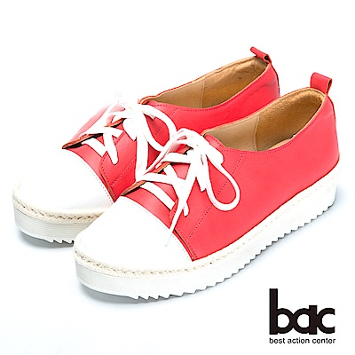 bac舒適鞋墊-撞色綁帶後切軟底包鞋-紅色
