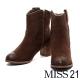 踝靴 MISS 21 西部牛仔刺繡粗跟踝靴-棕 product thumbnail 1