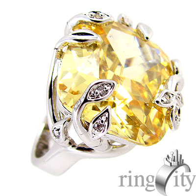 RingCity 香檳金色藤蔓方型戒
