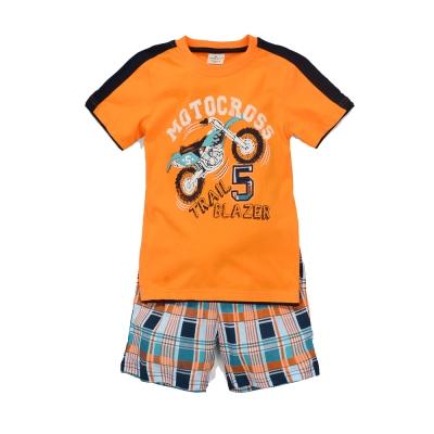 歐美風格設計 小童中童男童短棉T居家外出褲裝組 越野車 橘色