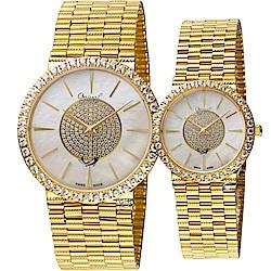 Ogival 愛其華 星光戀人璀璨時尚對錶(377-1MK+377-1LK)金色
