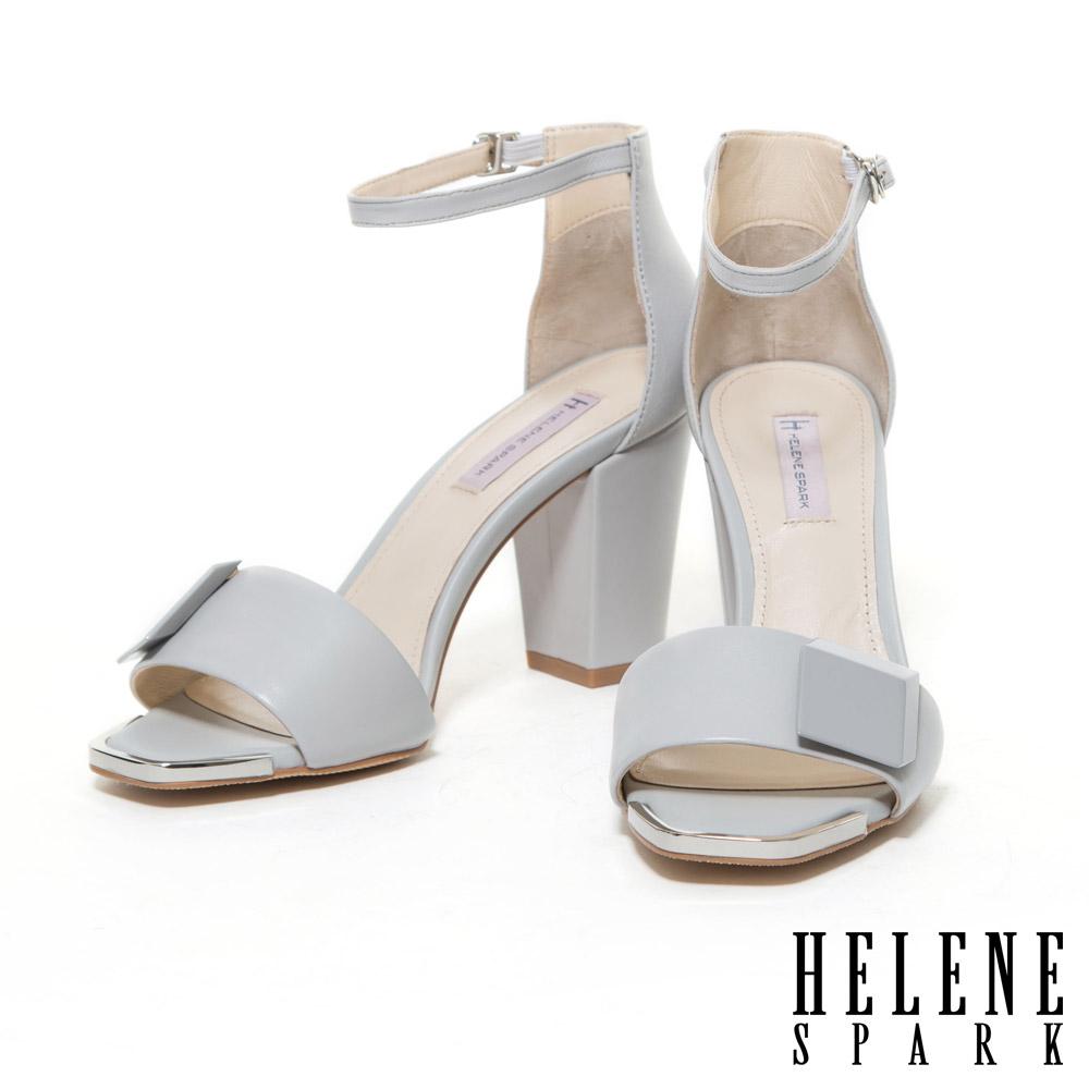 涼鞋 HELENE SPARK 簡約時尚烤漆方釦點綴美型羊皮高跟涼鞋-灰