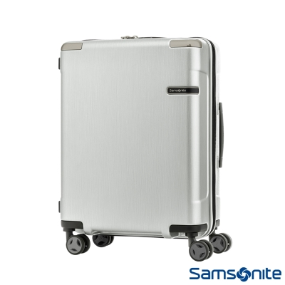 Samsonite新秀麗20吋 Evoa 拉絲光澤防盜拉鍊抗震輪TSA硬殼登機箱(銀)