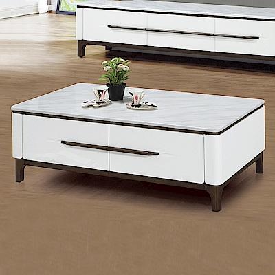 Boden-伊莉莎4.3尺白色石面四抽大茶几-130x70x46cm