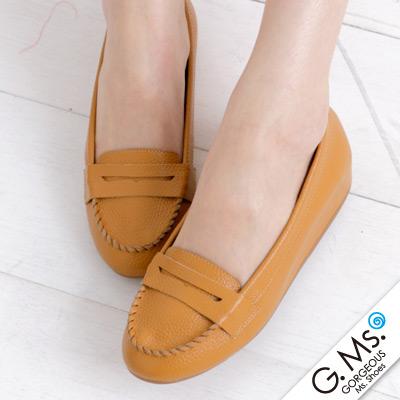 【G.Ms.】Q彈新主張‧簡約莫卡辛真皮內增高豆豆鞋‧焦糖駝