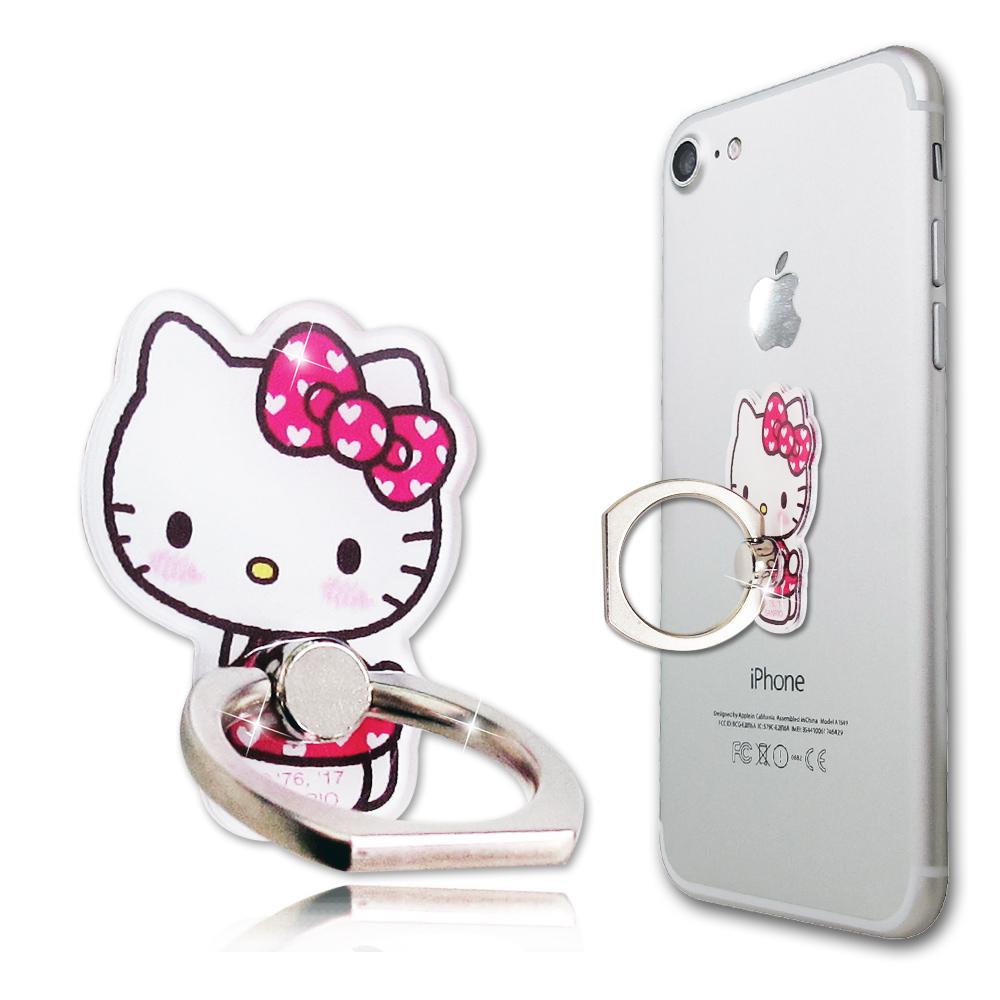 三麗鷗授權 Hello Kitty 凱蒂貓手機防摔造型指環扣 手機支架(俏粉紅)
