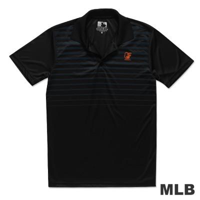 MLB-巴爾的摩金鶯隊印花條紋快排POLO衫-黑(男)