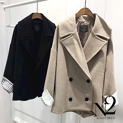 外套 正韓翻領前短後收尾顯瘦雙釦羊毛外套 (深藍) N2