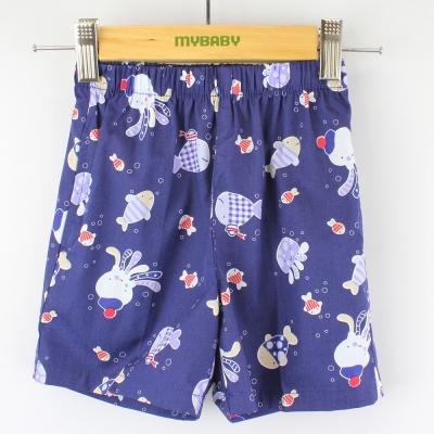 愛的世界 MYBABY 純棉鬆緊帶小魚派對印花短褲/1歲