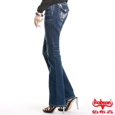 【BOBSON】女款口袋繡花強彈力喇叭褲(藍52)
