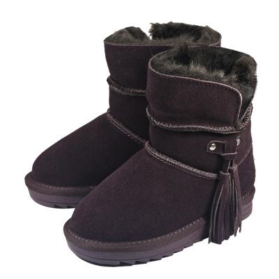 Swan天鵝童鞋-流蘇雪靴-3839咖