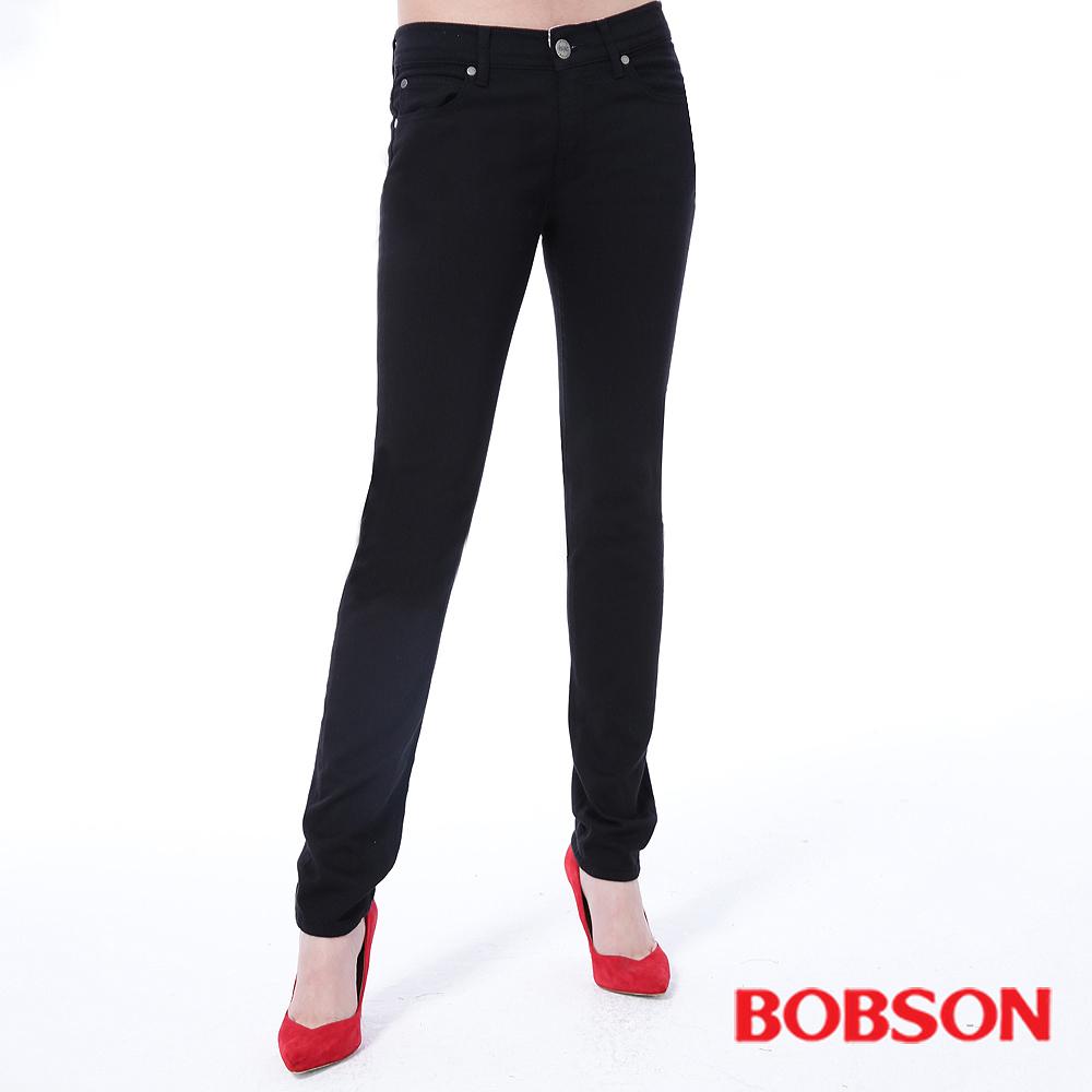 BOBSON 女款低腰膠原蛋白.拉毛.小直筒褲
