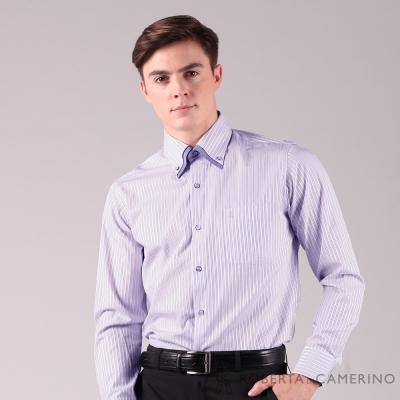 ROBERTA諾貝達 台灣製 合身版 不易起皺 速乾簡約條紋長袖襯衫 紫色