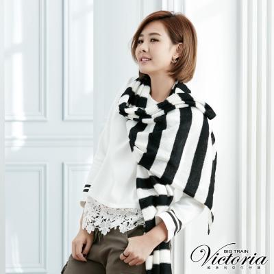Victoria 刺繡蕾絲剪接寬鬆長袖T-女-白色
