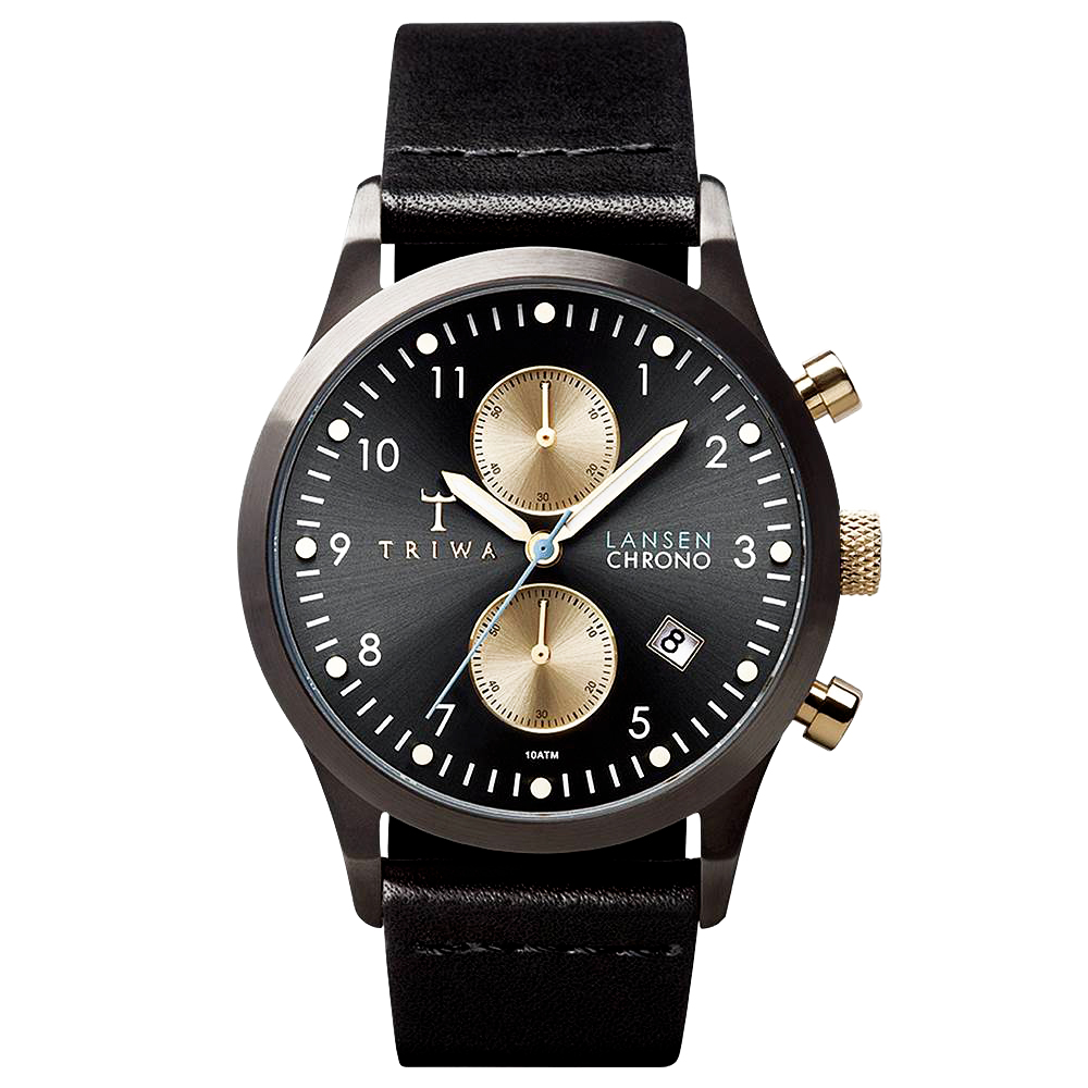 TRIWA  Lansen Chrono系列 北歐雅痞紳士時尚腕錶-黑/38mm