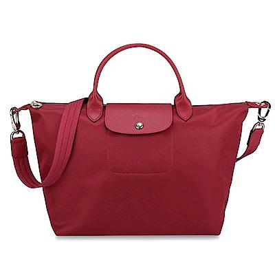 Longchamp Le Pliage Neo 短把手提/斜背厚尼龍兩用包-中/紅