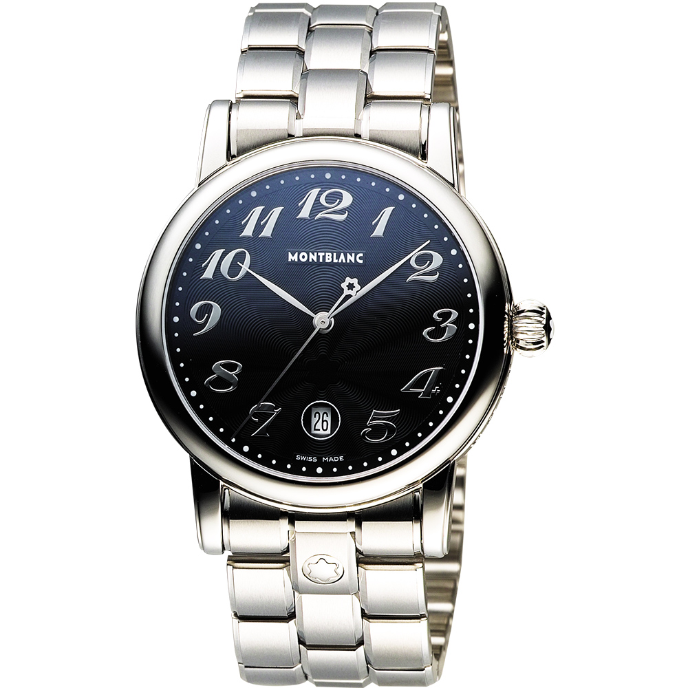 MONTBLANC 萬寶龍 STAR 系列日曆石英腕錶-黑x銀/39mm