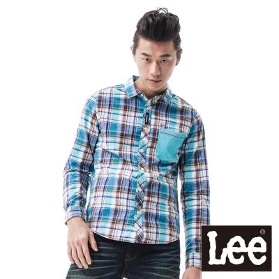 Lee 長袖襯衫 平織格紋及棉布口袋拼接-男款(藍)