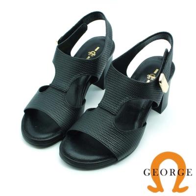 GEORGE 喬治-全真皮質感魔鬼氈金屬飾釦粗跟涼鞋-黑色