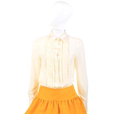 PHILOSOPHY 鵝黃色緞面抓褶拼接長袖襯衫