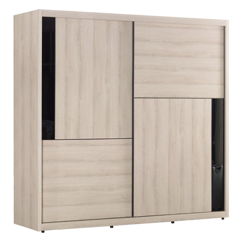 品家居 瑞琪兒7尺推門衣櫃(兩色可選)-211x60x207cm-免組