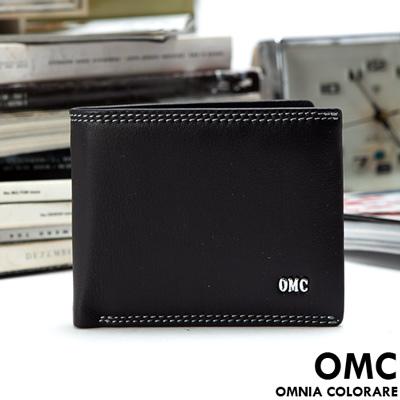 OMC - 韓國柔軟羊皮款真皮8卡1照上下翻短夾