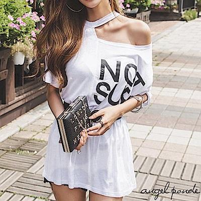 不對稱露肩NS字母印花五分袖寬鬆長版上衣短袖棉T恤-天使波堤