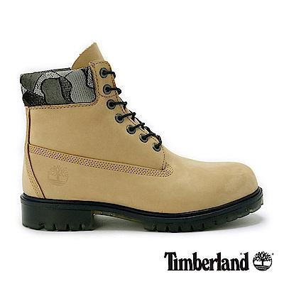 Timberland 男款米色壓花厚領防水優質6吋靴