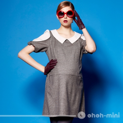 【ohoh-mini 孕婦裝】羊毛後綁帶拼布低腰孕哺洋裝