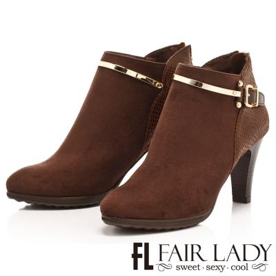 Fair Lady 女伶金屬線條飾扣高跟短靴 咖啡