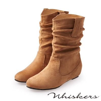 Whiskers 完美腿型 素色抓皺內增高中筒靴*深米色