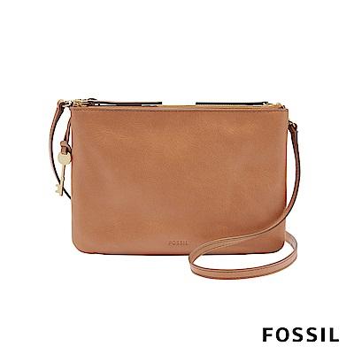 FOSSIL DEVON 經典雙拉鍊真皮小方包-駝色