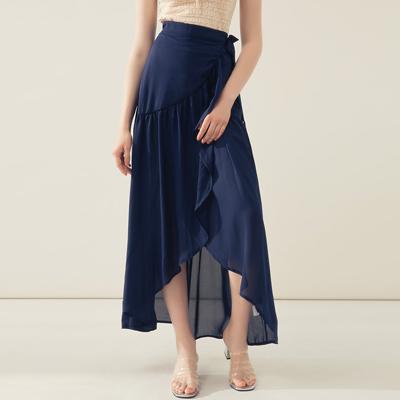 AIR SPACE 氣質荷葉裙擺長裙(藍)