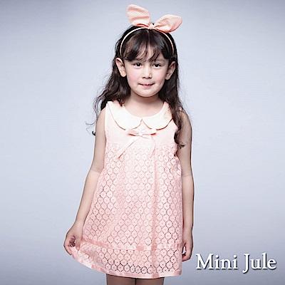 Mini Jule 童裝-洋裝 花朵蕾絲娃娃領無袖洋裝(粉)