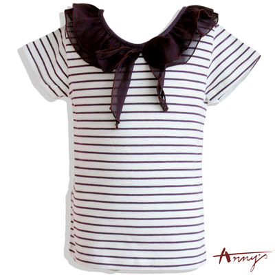 格紋網紗綁帶蝴蝶結短袖上衣*2366紫